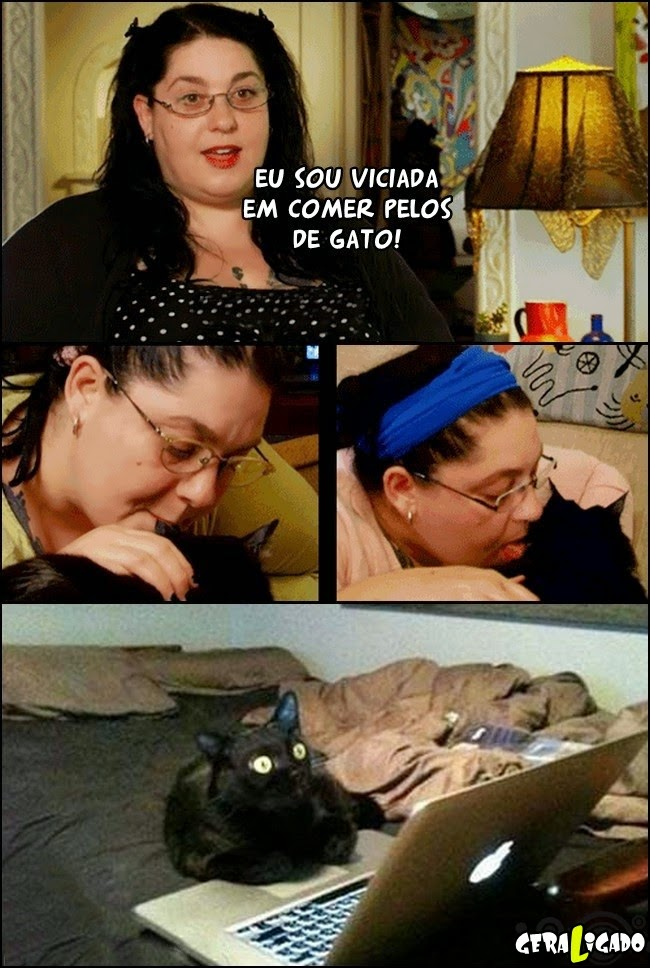 Mulher viciada em comer pelos de gato