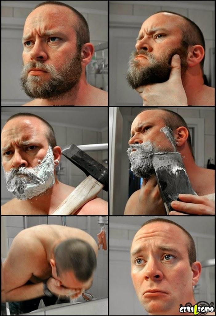 Quando homem faz barba