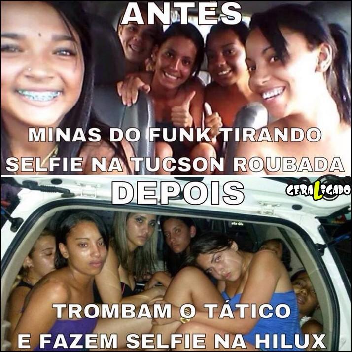 6 Funkeiras tirando selfie em carro roubado