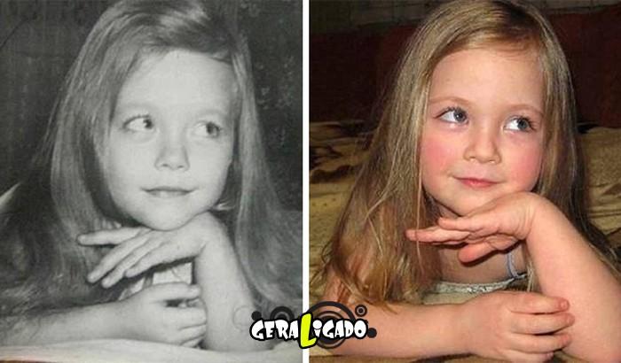 Filhos que se parecem  com seus pais quando mais novos
