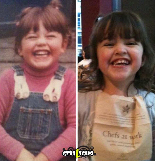 Filhos que se parecem  com seus pais quando mais novos0