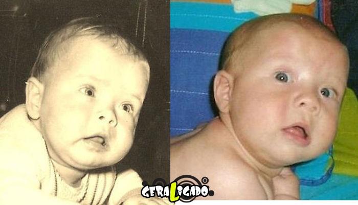 Filhos que se parecem  com seus pais quando mais novos20