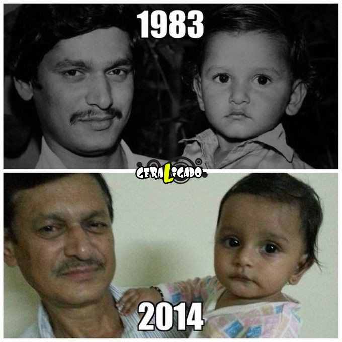 Filhos que se parecem  com seus pais quando mais novos21