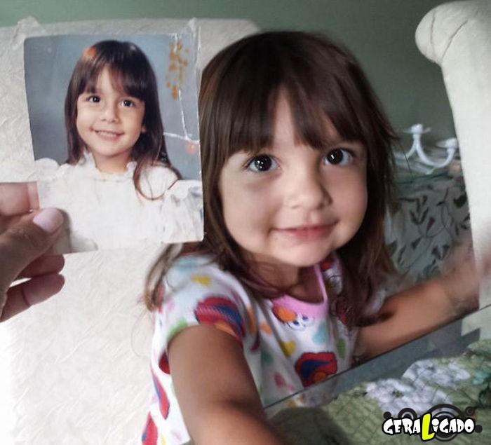 Filhos que se parecem  com seus pais quando mais novos7