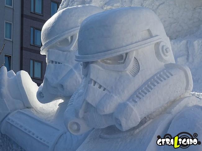 Exército japonês usa neve para criar escultura de Star Wars4
