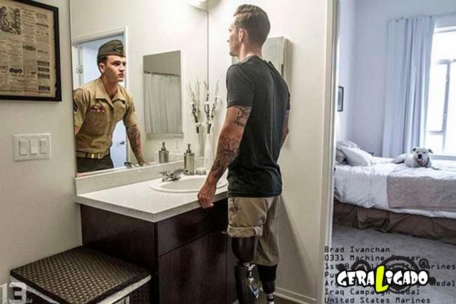Fotográfico mostra os dois lados de quem é um soldado de guerra