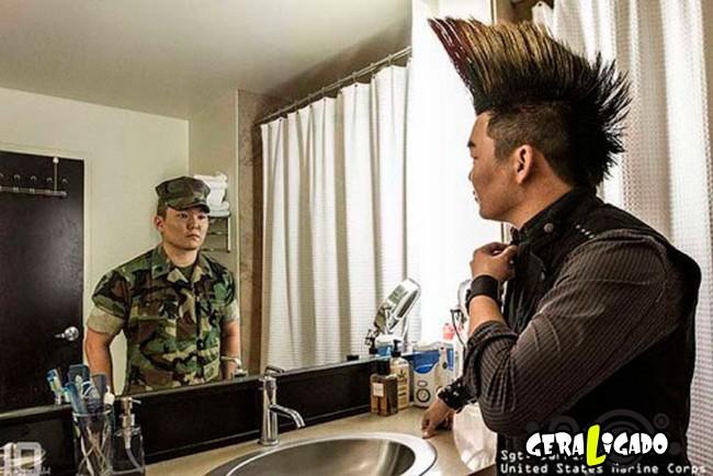 Fotográfico mostra os dois lados de quem é um soldado de guerra1