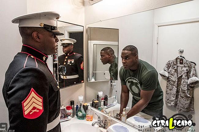 Fotográfico mostra os dois lados de quem é um soldado de guerra12