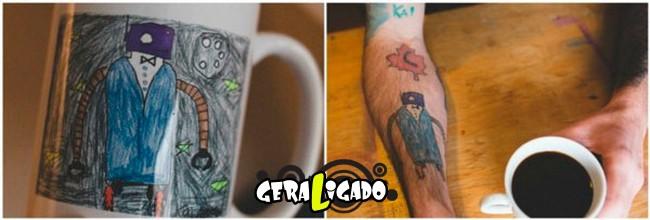 Pai tatua desenhos do filho no proprio corpo1