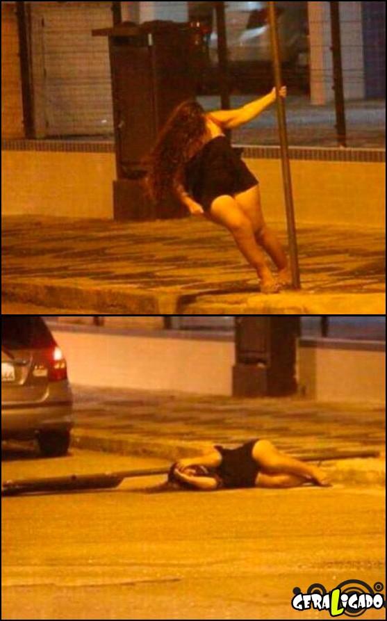 1 Gordinha foi fazer pole dance no poste e