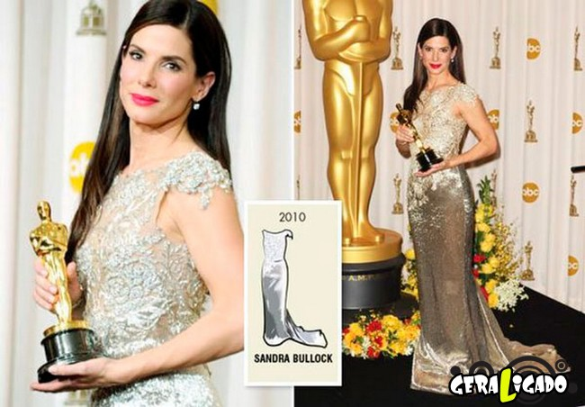Ganhadoras do Oscar e seu lookc onforme os anos...10