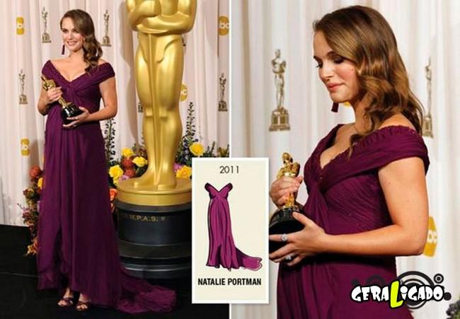 Ganhadoras do Oscar e seu lookc onforme os anos...11