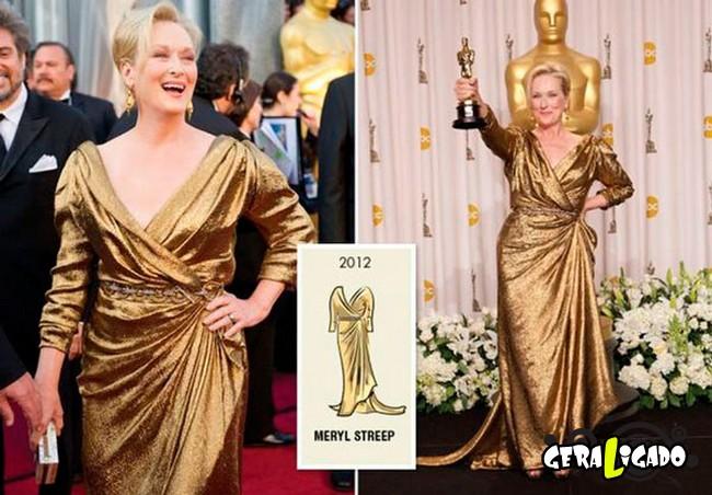 Ganhadoras do Oscar e seu lookc onforme os anos...12