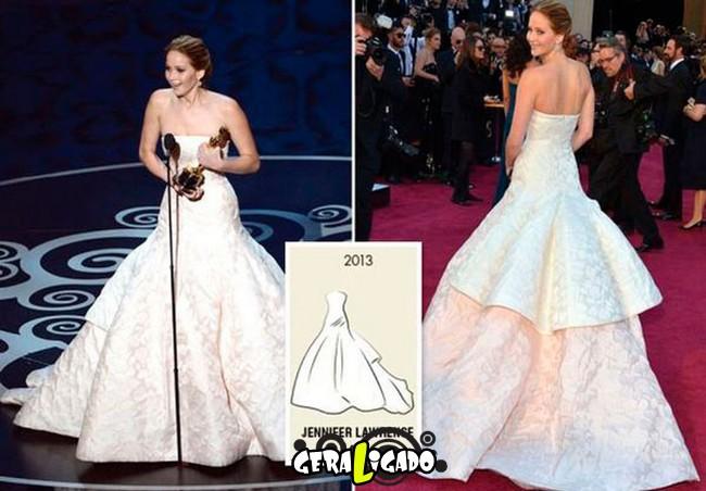 Ganhadoras do Oscar e seu lookc onforme os anos...13