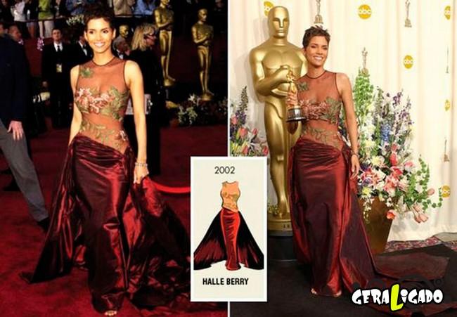 Ganhadoras do Oscar e seu lookc onforme os anos...9