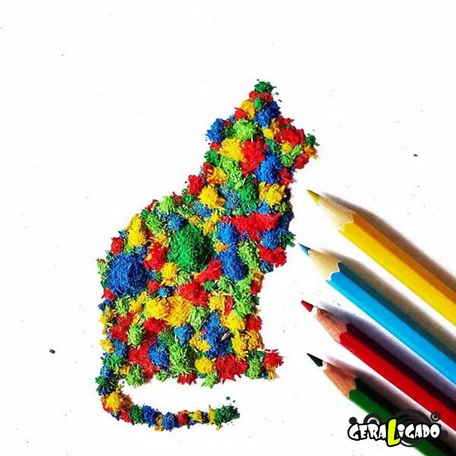 Criando arte com lápis apontados7