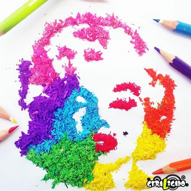 Criando arte com lápis apontados9