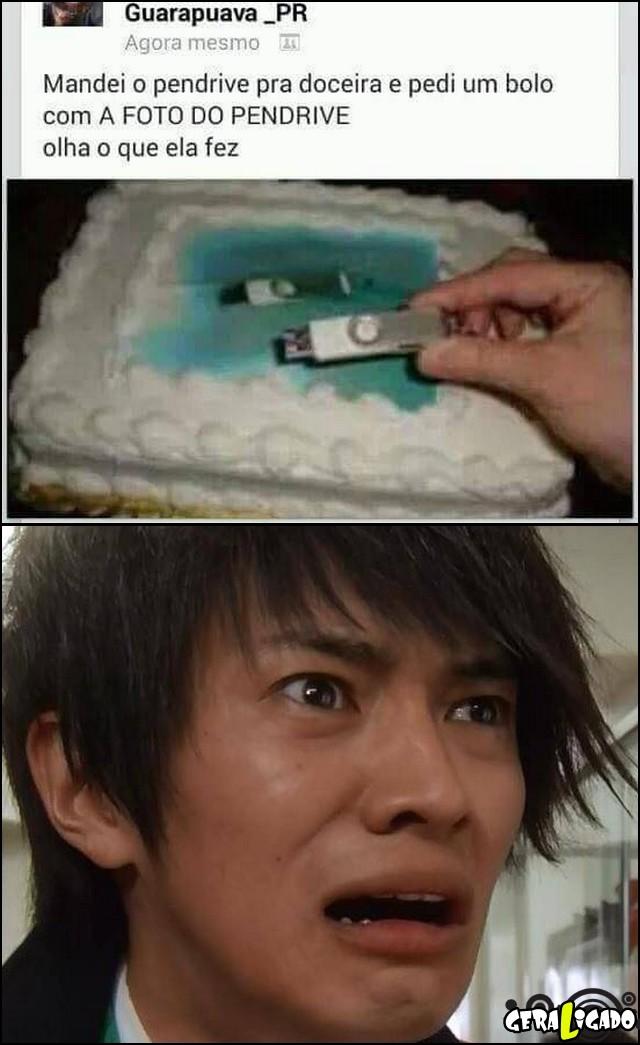 2 Pediu pra doceira por a foto do pendrive no bolo, olha o que ela fez