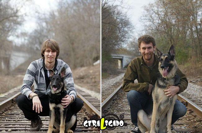 'Antes e depois' muito legais de donos e seus animais de estimação13
