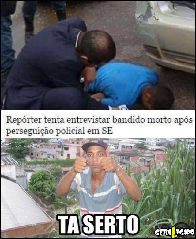 2 Reporter tenta entevistar bandido morto