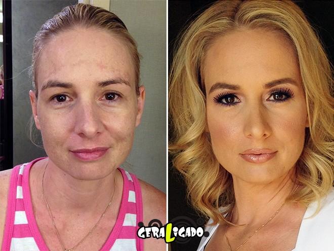 Mulheres antes e depois de serem maquiadas10