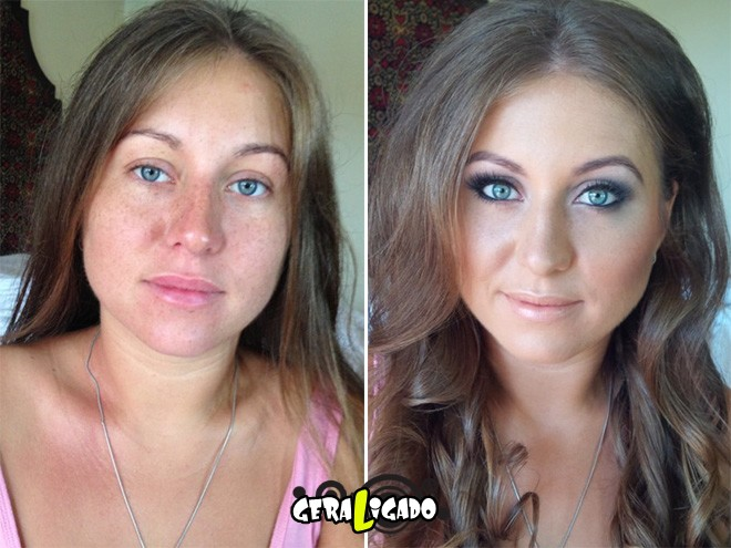 Mulheres antes e depois de serem maquiadas16