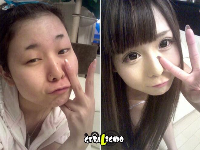 Mulheres antes e depois de serem maquiadas17