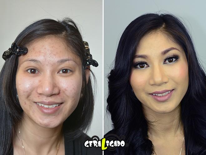 Mulheres antes e depois de serem maquiadas19