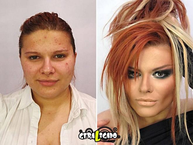 Mulheres antes e depois de serem maquiadas8