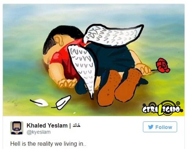 ''Descanse em paz'' desenhos e montagens homenageiam menino refugiado morto na praia
