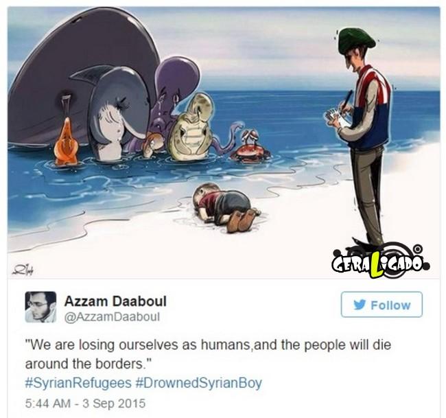 ''Descanse em paz'' desenhos e montagens homenageiam menino refugiado morto na praia10