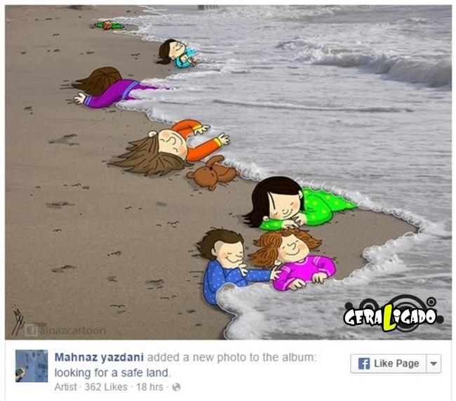 ''Descanse em paz'' desenhos e montagens homenageiam menino refugiado morto na praia11