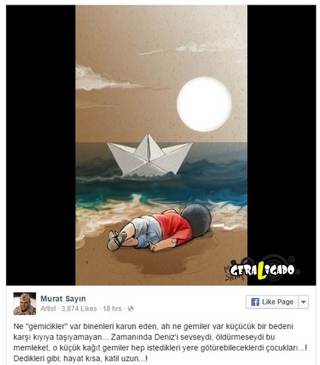 ''Descanse em paz'' desenhos e montagens homenageiam menino refugiado morto na praia15