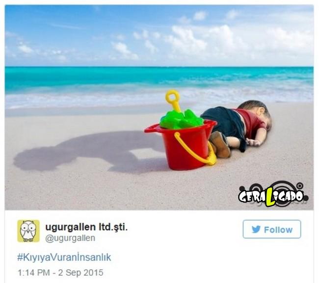 ''Descanse em paz'' desenhos e montagens homenageiam menino refugiado morto na praia2