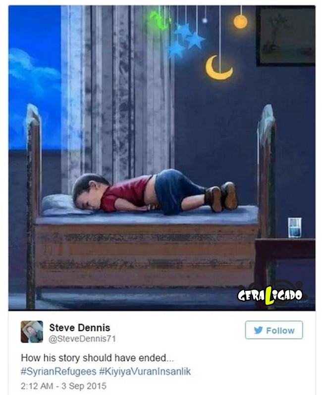 ''Descanse em paz'' desenhos e montagens homenageiam menino refugiado morto na praia3