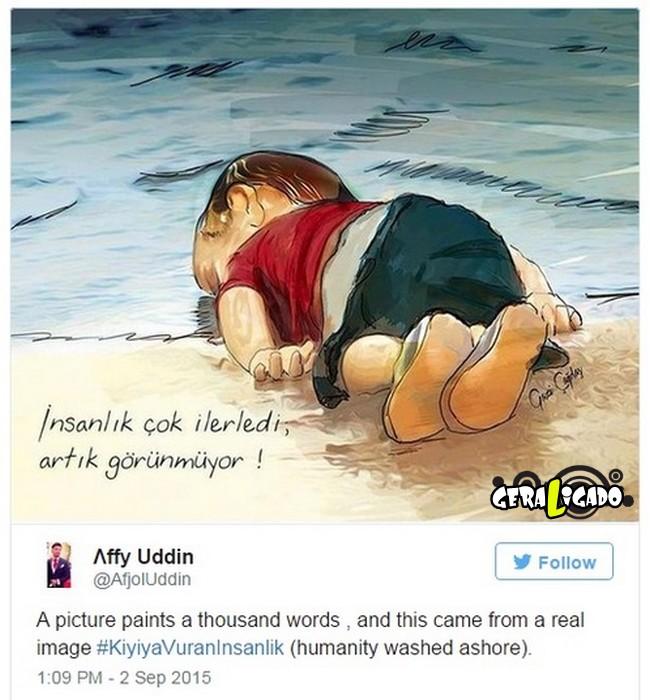 ''Descanse em paz'' desenhos e montagens homenageiam menino refugiado morto na praia5
