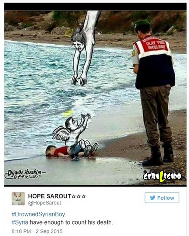 ''Descanse em paz'' desenhos e montagens homenageiam menino refugiado morto na praia6