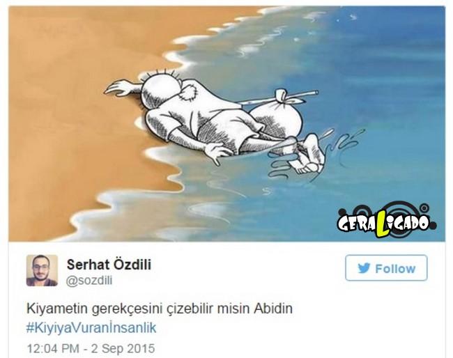 ''Descanse em paz'' desenhos e montagens homenageiam menino refugiado morto na praia9