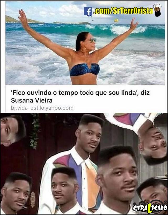 Fico ouvindo o tempo todo que sou linda - diz Susana Vieira