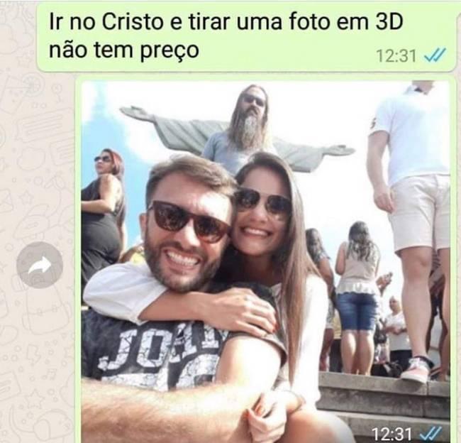 Tirar uma foto 3D com o cristo não tem preço.
