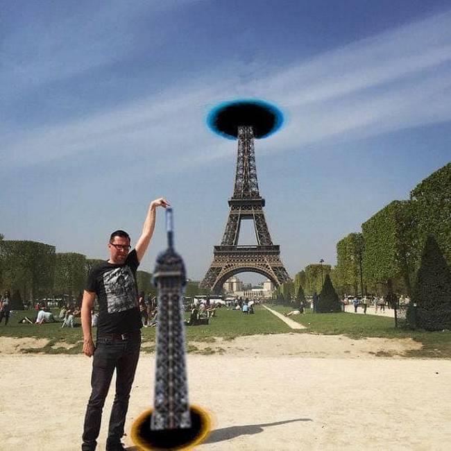 Gostaria que meu dedo tocasse na ponta da Torre Eiffel9