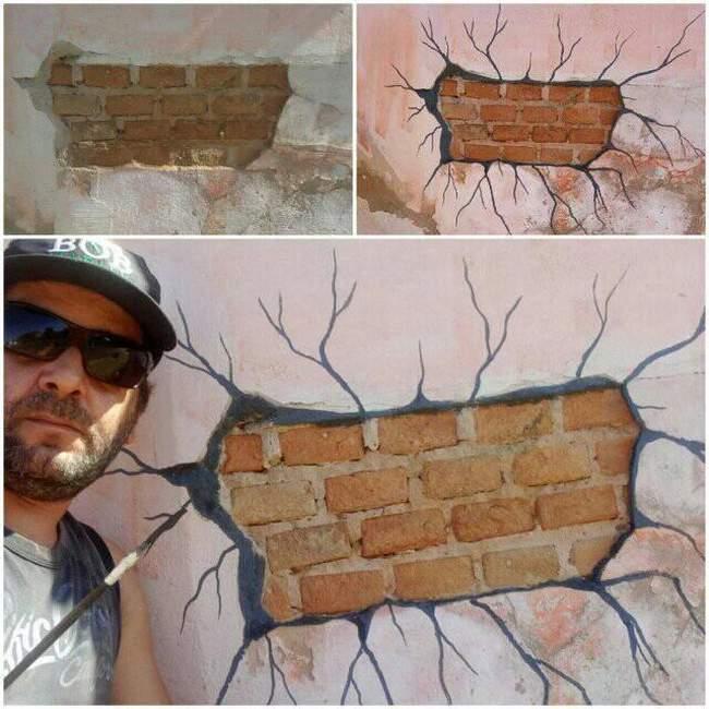 Minha esposa pediu pra arrumar o muro de casa . Falei deixa comigo .